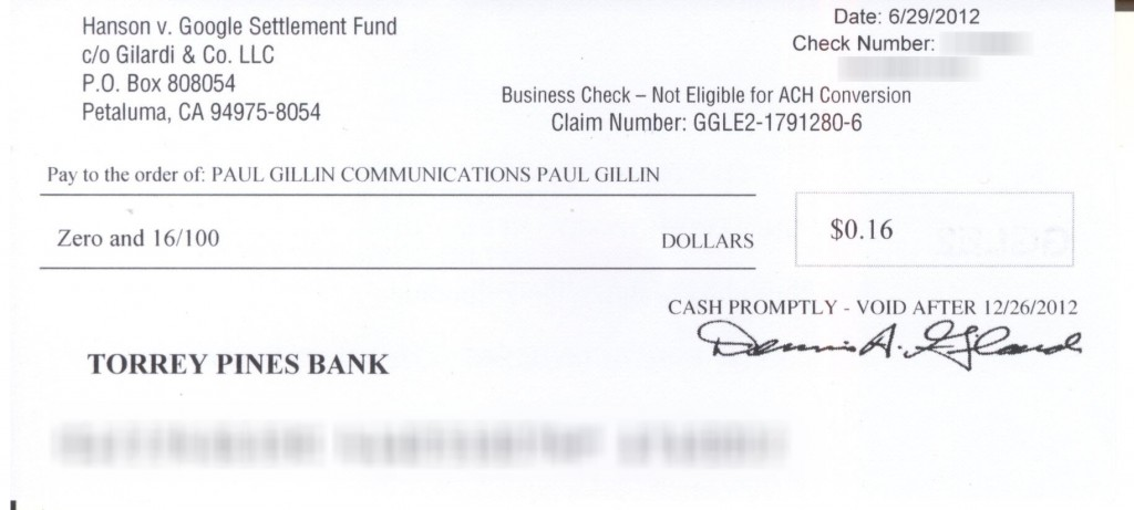 Google settlement check